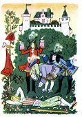 USSR - CIRCA 1976: Postcard printed in thr USSR shows an illustration of the Brothers Grimm fairy ta