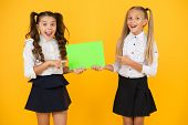 Girls School Uniform Hold Poster. Back To School Concept. Schoolgirls Show Poster. Social Poster Cop poster