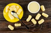Corn Sticks With Condensed Milk, Teaspoon In Yellow Saucer, White Bowl With Milk, Scattered Sticks O poster