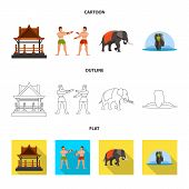 Vector Illustration Of Journey And Exotic Icon. Collection Of Journey And National Vector Icon For S poster