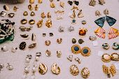 Retro Earrings.jewelry 80-90s.gold Clips.flea Market.counter With Jewelry.vintage Things. Aesthetics poster
