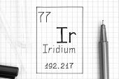The Periodic Table Of Elements. Handwriting Chemical Element Iridium Ir With Black Pen, Test Tube An poster