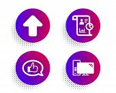Upload, Feedback And Report Icons Simple Set. Halftone Dots Button. Computer Sign. Load Arrowhead, S poster