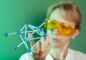 Scientist working with molecular structure