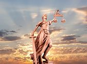 image of metal sculpture  - justice statue - JPG