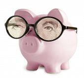 pic of piggy_bank  - Piggy bank with glasses in isolated white background  George Washington eyes concepts - JPG