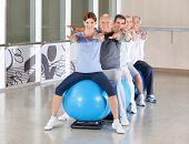Senior group in gym balls exercising in fitness center