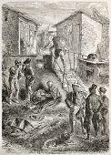 The Fosse-aux-Lions, popular area in rue de la Sante', Paris. Created by Lhernault, published on L'Illustration, Journal Universel, Paris, 1863