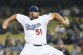 LOS ANGELES - AUG 7: Dodgers pitcher (#51) Jonathan Broxton during the Nationals vs. Dodgers game on