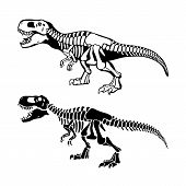 T Rex Dinosaurs Bones Negative Space Silhouette Illustrations Set poster