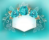 White Banner, Decorated With Turquoise Roses With Leaves Of White Gold On Turquoise Background. Blue poster