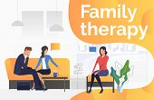 Family Therapy Text With Psychologist Talking To Couple Vector Illustration. Family Problem, Divorce poster