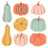 Set With Hand Drawn Pastel Pumpkin In Cartoon Style. Flat Icons Set Of Pumpkins And Squash. Autumn C poster