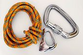 Climbing Equipment - Carabiners And Rope