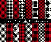 Set Check  Plaid  Seamless Patterns Backgrounds. poster