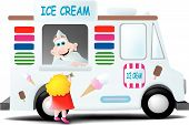 stock photo of ice-cream truck  - The ice cream man leans out of his truck to see what a little girl wants - JPG