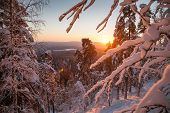 Sunrise.fantastic Sunrise, Morning Winter Landscape. Fantastic Overcast Sky. Beautiful Winter Landsc poster