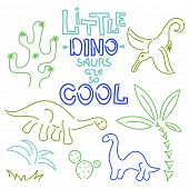 Little Dinosaurs Are So Cool - Text. Cute Vector Dinosaurs Isolated On White Background. poster