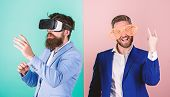Man With Beard In Vr Glasses And Louvered Plastic Accessory. Guy Interact In Virtual Reality. Hipste poster