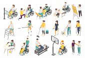 Disabled People Isometric Icons With Active Invalids Overcoming Difficulties In Everyday Life Volunt poster