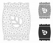 Mesh Seed Pack Model With Triangle Mosaic Icon. Wire Frame Triangular Mesh Of Seed Pack. Vector Coll poster