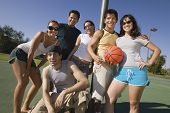 stock photo of early 20s  - Friends at a Basketball Court - JPG