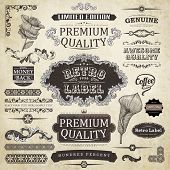 vector set: calligraphic design elements and page decoration, Premium Quality Label collection with