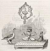 Symbolic Trimurti image: Brahma and Saraswati. Created by Godefroy-Durand, published on L'Illustrati