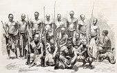 Native Africans escort components of Captains Grant and Speke explorers of Nile sources. Created by