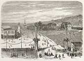 Chaux-de-Fonds shooting range old view, Switzerland. Created by Blanchard, published on L'Illustration, Journal Universel, Paris, 1863