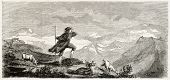 Shepherd of Ossau valley, Pyrenees, France. Created by Valton, published on L'Illustration, Journal Universel, Paris, 1863