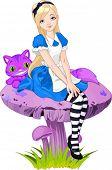 Alice no país das maravilhas e gato Cheshire em cogumelo