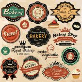 Collection of vintage retro grunge food labels, badges and icons