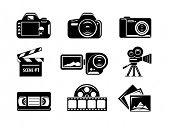 Video and photo icon set