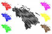 Villa Clara Province (republic Of Cuba, Provinces Of Cuba) Map Vector Illustration, Scribble Sketch  poster