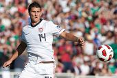 PASADENA, CA. - MAY 25: United States player D Eric Lichaj #14 during the 2011 CONCACAF Gold Cup championship game on May 25 2011 at a sold out Rose Bowl in Pasadena, CA