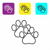 Black Line Paw Print Icon Isolated On White Background. Dog Or Cat Paw Print. Animal Track. Set Icon poster