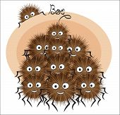 Cartoon Fluffy Halloween Spiders Family, Say Boo  Can Be Used For T-shirt Print, Kids Wear Fashion D poster