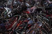 A Lot Of Old Glasses On The Heap. Heap Of Old Eyeglasses. Heap Of Scratched And Broken Eyeglasses. R poster