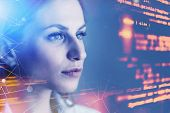 Beautiful Young Woman Programmer Looking At Virtual Screen With Code And Network Interface. Concept  poster