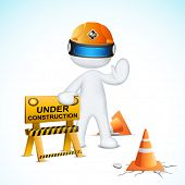illustration of 3d man in vector fully scalable with under construction element