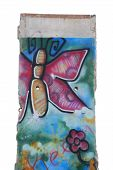 stock photo of ronald reagan  - A segment of the Berlin Wall that was painted with a butterfly and donated to the Ronald Reagan Presidential Library - JPG