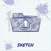 Sketch Line Folder Upload Icon Isolated On White Background. Vector Illustration poster