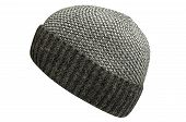 Gray Hat Hat Isolated On White Background .knitted Hat Side View . poster