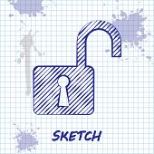 Sketch Line Open Padlock Icon Isolated On White Background. Opened Lock Sign. Cyber Security Concept poster