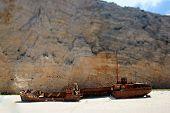 Navagio beach with ship-wreck in Zakynthos, Greece