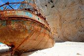 beach with ship-wreck in Zakynthos, Greece