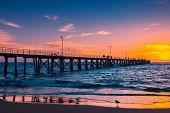 Port Noarlunga Jetty With People At Sunset, Adelaide, South Australia poster