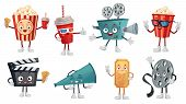 Cartoon Cinema Mascot. Popcorn In 3d Glasses, Funny Movie Film Camera And Cinemas Tickets Characters poster