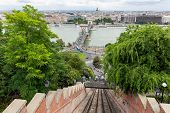 Panorama View Form Buda Castle Hill At Funicular Railroad Track To Top poster